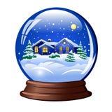 blanc de vecteur de neige d'isolement par illustration de globe Photo stock