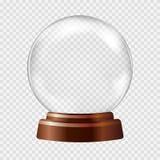blanc de vecteur de neige d'isolement par illustration de globe Grande sphère en verre transparente blanche Photos libres de droits