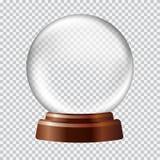 blanc de vecteur de neige d'isolement par illustration de globe Grande sphère en verre transparente blanche dessus Photos libres de droits