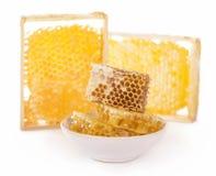 blanc doux de miel de cire d'abeille de fond Photos stock
