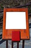 Blanc en bois de panneau-réclame images stock