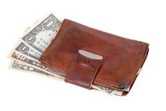 blanc en cuir de pochette d'argent d'isolement par fond Images libres de droits