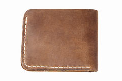blanc en cuir de pochette d'isolement par brun Photographie stock