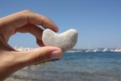 Blanc en pierre de coeur Photographie stock