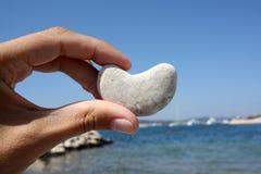 Blanc en pierre de coeur Photo stock