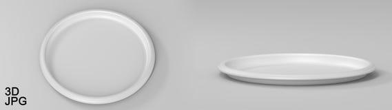 Blanc en plastique rond de plateau Photos libres de droits