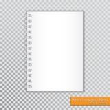 Blanc en spirale réaliste de bloc-notes sur le fond transparent Vecteur Photo stock