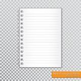 Blanc en spirale réaliste de bloc-notes sur le fond transparent Vecteur Photographie stock