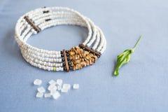Blanc et collier en pierre de perles de tigre sur un fond bleu avec du sucre raffiné et la plante images libres de droits