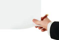 Blanc et crayon lecteur purs à disposition Photographie stock libre de droits