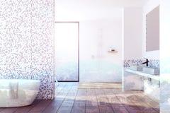 Blanc et intérieur carrelé gris de salle de bains modifiés la tonalité Photographie stock libre de droits