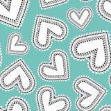 Blanc et noir original coeurs de griffonnage de schéma en tant que modèle sans couture de vecteur sur le fond bleu lumineux illustration libre de droits
