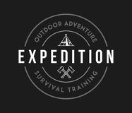Blanc extérieur d'exploration d'aventure sur le noir illustration stock