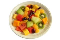 blanc fini mélangé d'isolement sain de salade de fruit Images libres de droits