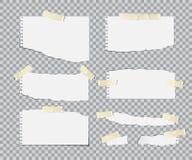 Blanc gescheurde document bladen met geplaatste plakband Vector realistische ontwerpelementen stock illustratie
