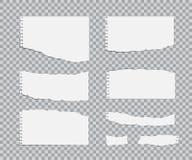 Blanc gescheurde document geplaatste bladen Vector realistische ontwerpelementen vector illustratie