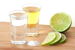 Blanc and Gold Tequila with lime and salt Stock Image
