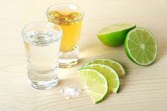 Blanc and Gold Tequila with lime and salt Royalty Free Stock Photography