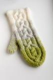 Blanc, gris et mitaine tricotée par vert Photos libres de droits