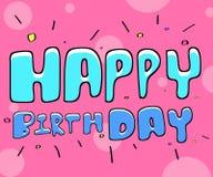 blanc heureux des textes de couleur noire d'anniversaire Image libre de droits