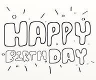 blanc heureux des textes de couleur noire d'anniversaire illustration de vecteur