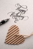 blanc heureux des textes de couleur noire d'anniversaire lettrage de main - calligraphie faite main Photo libre de droits