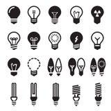 blanc léger d'isolement par ampoules Ensemble d'icône d'ampoule Photo libre de droits