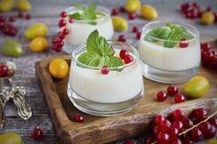 Blanc-mangergestremde melk in een glas Stock Foto's