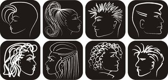 Blanc noir équipe et les profils de womans Photos libres de droits