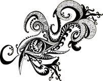 Blanc noir, fantastique, abstrait, chaman, oeil décoratif Photo libre de droits