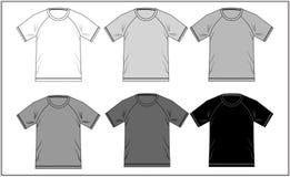 Blanc noir raglan 06, vecteur de T-shirt Images stock