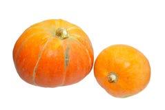 blanc orange d'isolement des potirons deux Image stock
