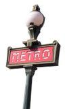 blanc parisien d'isolement de signe de métro Photographie stock