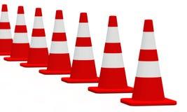 blanc rouge 10 des cônes 3D Images libres de droits