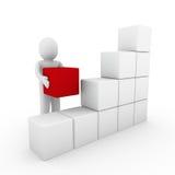 blanc rouge de cadre humain du cube 3d Photographie stock