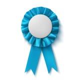Blanc, ruban bleu réaliste de récompense de tissu Photo libre de droits
