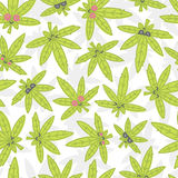 Blanc sans couture de modèle de vecteur de mauvaise herbe de kawaii de bande dessinée illustration libre de droits