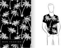 Blanc sans couture de modèle de palmiers sur le T-shirt noir Images libres de droits