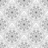 Blanc sans couture de noir de modèle de fleur géométrique Photo stock