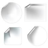 Blanc stickers/labels. Realistic blank stickers/labels with pealed corners for commercial use Stock Photo