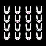 Blanc tiré par la main 4 d'émoticônes de lapin Image libre de droits