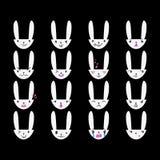 Blanc tiré par la main 3 d'émoticônes de lapin Photo libre de droits