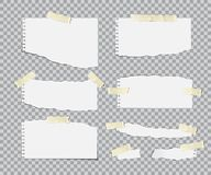 Blanc torn paper sheets with adhesive tapes set. Vector realistic design elements. stock illustration