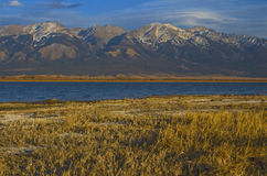 mountain range behind lake, San Luis valley, Color Royalty Free Stock Images