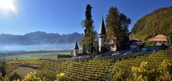 Blanche famoso del maison del castello del castello nel cantone il Canton Vaud fotografia stock libera da diritti
