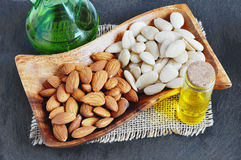 Blanched Almond, Peeled almonds, almond oil. Stock Images