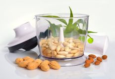 Blanched almonds In a blender with unshelled nuts. On white back. Ground Royalty Free Stock Photos