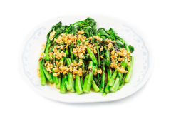 Blanched Chinese Choy Sum vegetable with garlic oil dish Stock Images