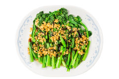 Blanched Chinese Choy Sum vegetable with garlic oil dish Royalty Free Stock Image
