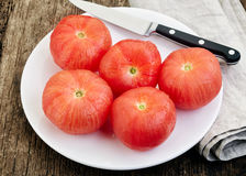 Blanched tomatoes Stock Photo